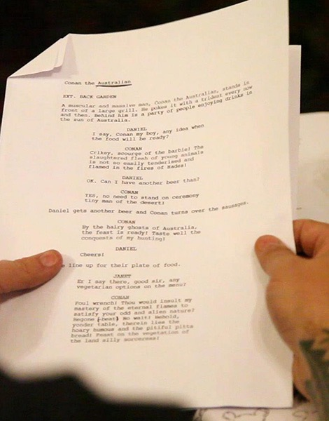 Close up of a sketch script being read at a London Comedy Writers meeting