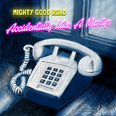 """Piano and window in blue shadows with neon text """"Accidentally Like A Martyr"""", Mighty Good Road"""
