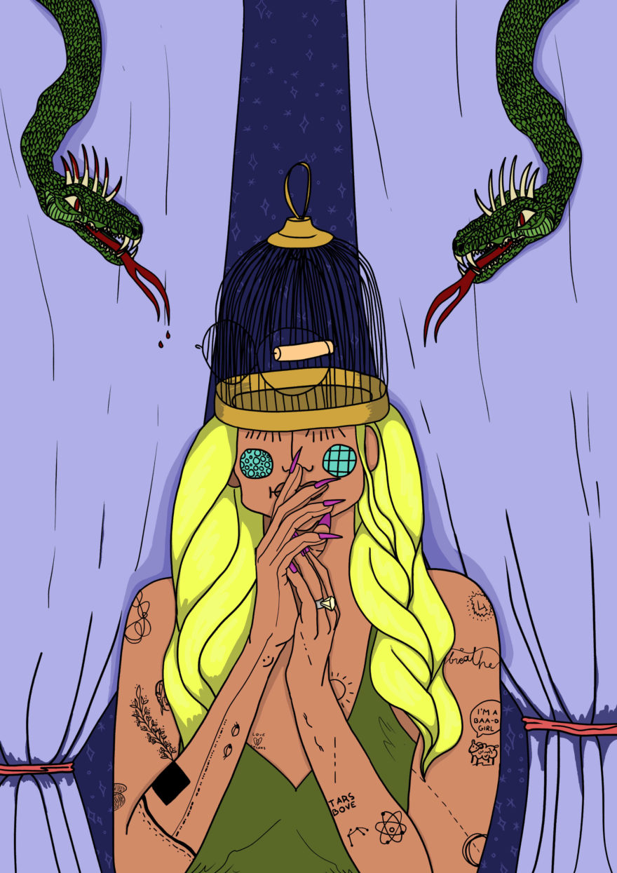 woman in her head