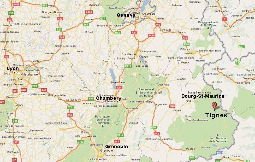 Map of Tignes ski travel domain & airports