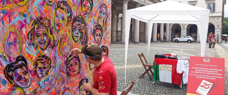 2020 Live Painting Le Madri Costituenti di Carlo Gori per Anpi Novara Piazza Duomo