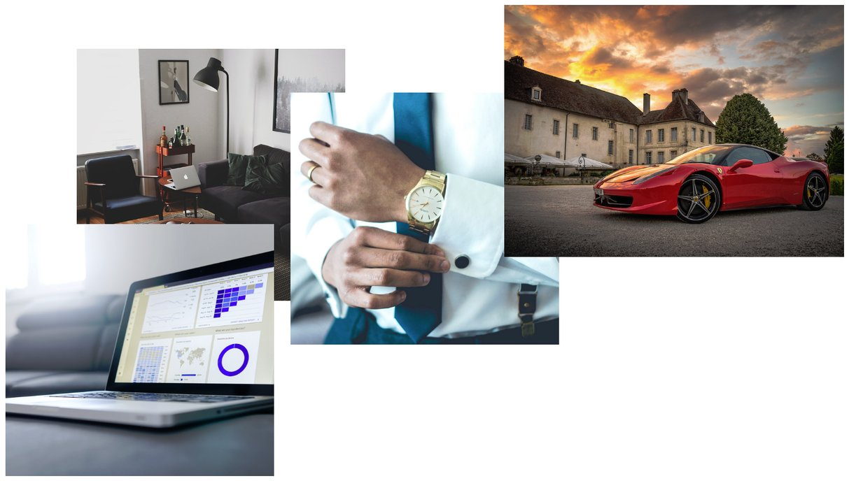 Image with eliminated risk, guaranteed results, data dashboard, cozy room, watch and sports car