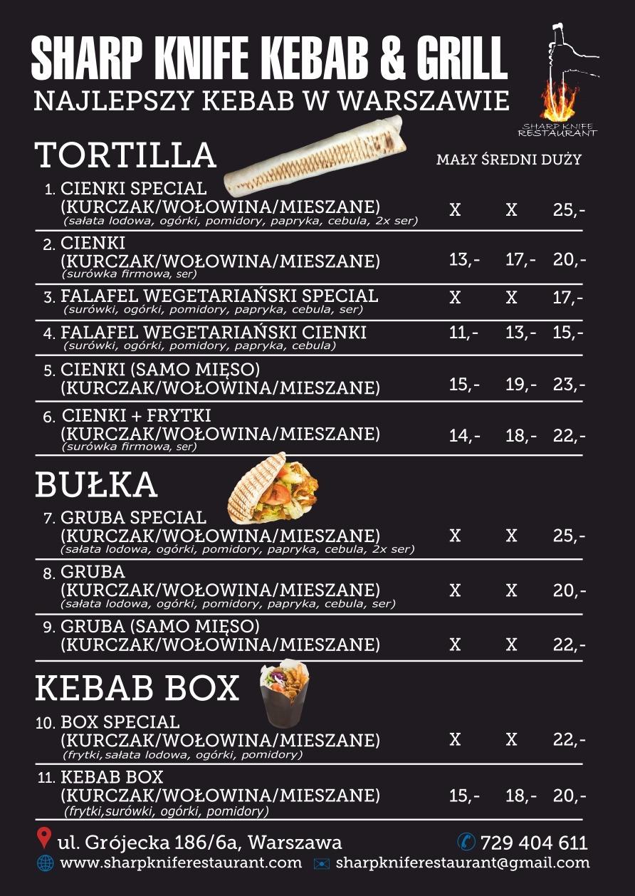 Nowe menu kebab