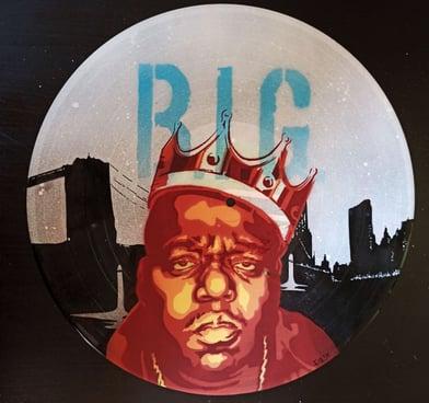 Stencil sobre disco de vinilo Notorious Big