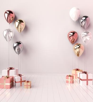 Helio balionai ir dovanų pakavimas, bei dėžės dovanoms