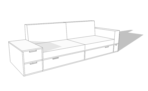 Digital mockup of the sofa. The sofa has storage space underneath.