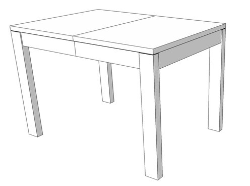 Digital mockup of the extendable dining table