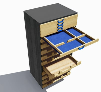 Digital mockup of the small parts storage with several racks open.