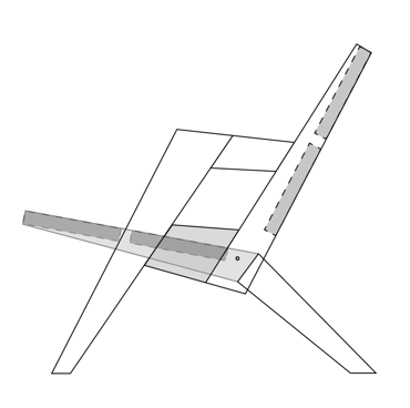 Digital mockup of the outdoor folding chair.