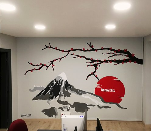 Decoración graffiti interior oficinas Makita