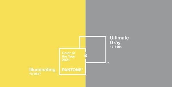 2021 metų spalva, pilka, geltona