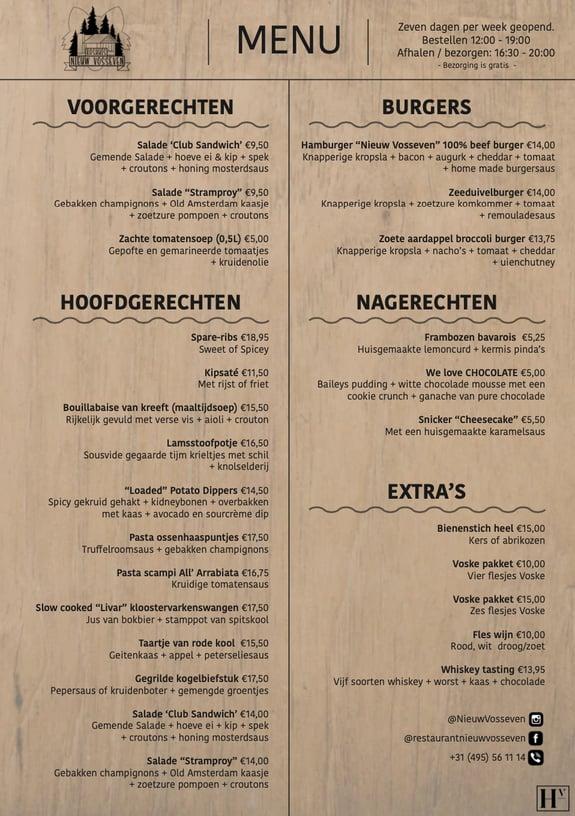 De menukaart van Nieuw Vosseven met diverse overheerlijke gerechten.