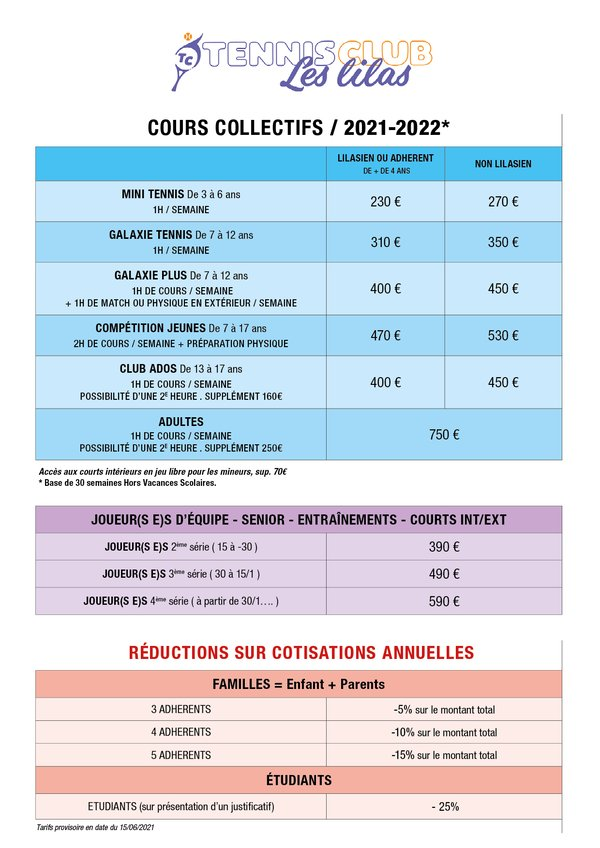 Tarif cours collectifs Tennis Club Les Lilas