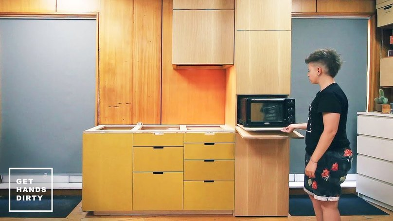Yellow MDF and pinewood appliance kitchen cabinets