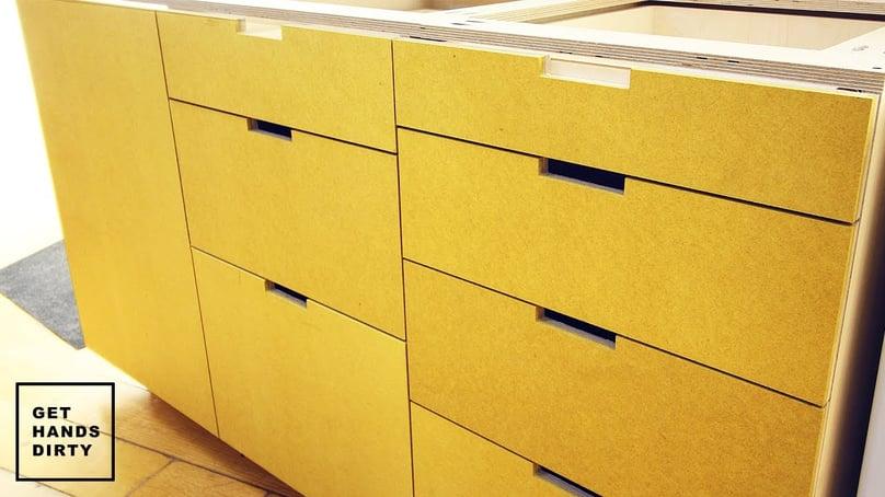 Yellow MDF kitchen cabinets