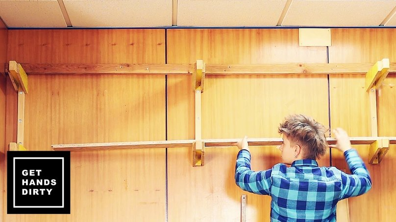 Rearrangement of an existing rack to upgrade a wood storage wall solution
