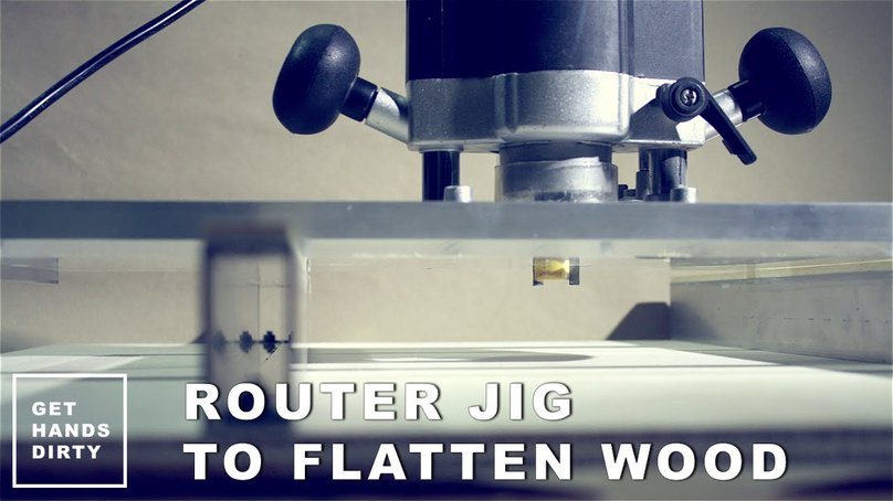 Image of a router with a jig installed in order to make wood flat in alternative to a planer.