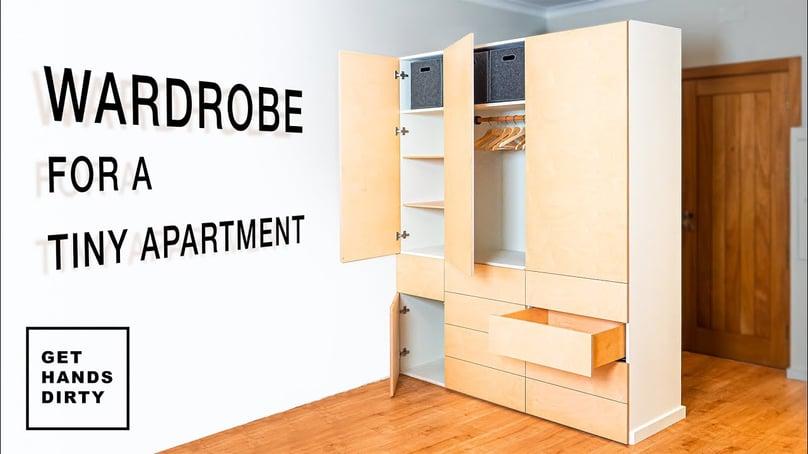 A wardrobe in a tiny apartment.