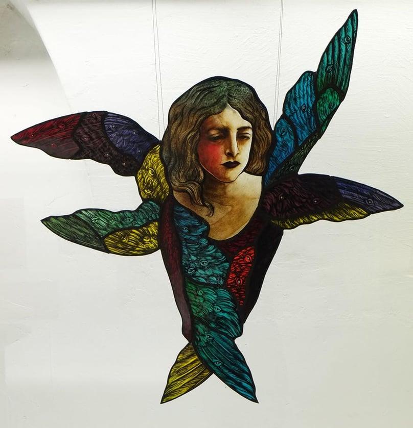 stained glass cherub angel wings art craftmanship